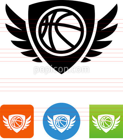 Basketball Shield With Wings Icon