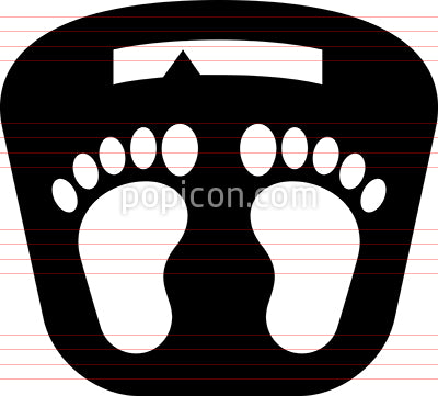 Bathroom Scale With Feet Vector Icon