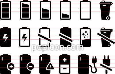 Battery Icons Set 2 - Black Series