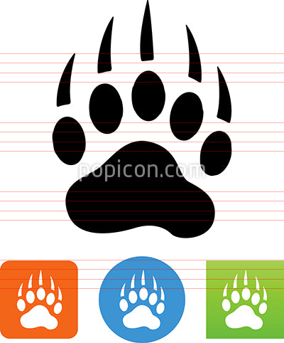 Bear Tracks Footprint Vector Icon