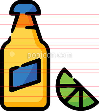Beer Bottle With Lime Hand Drawn Icon