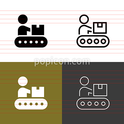 Belt Conveyor Icon Set