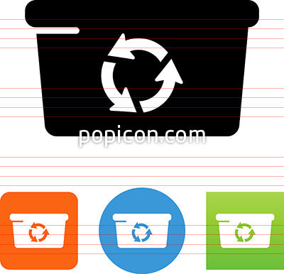 Bin With Recycling Arrows Icon