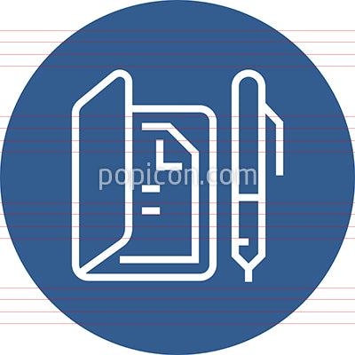 Binder With Document And Pen Outline Icon