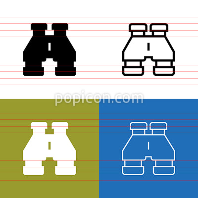 Binoculars Icon Set