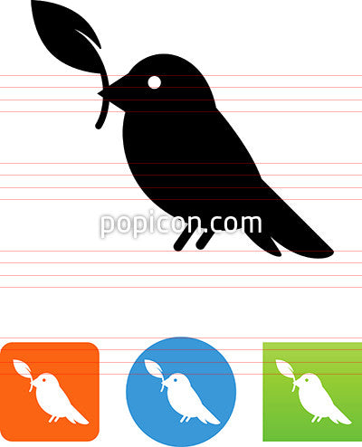 Bird Holding A Leaf Icon