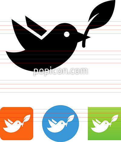 Bird With Olive Branch Icon