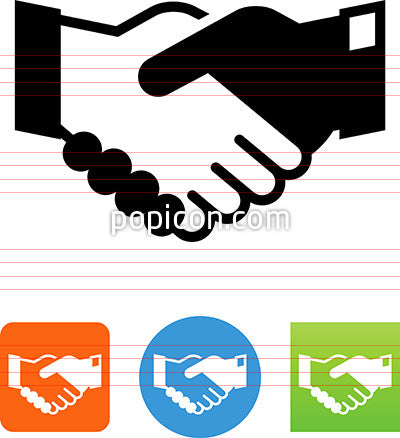 Black And White Shaking Hands Icon