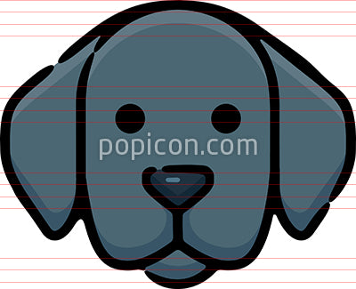 Black Labrador Dog Hand Drawn Icon