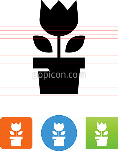 Blooming Flower In A Pot Icon