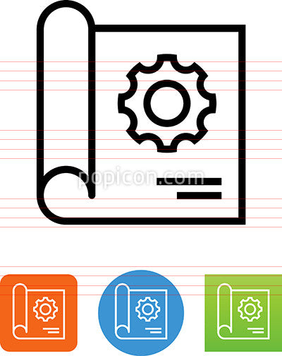 Blueprint With Gear Icon
