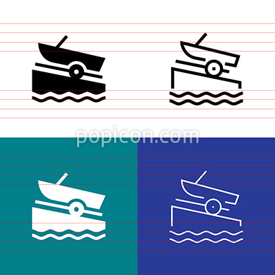 Boat Ramp Icon Set