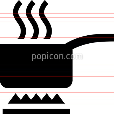 Boiling Pan With Steam Vector Icon