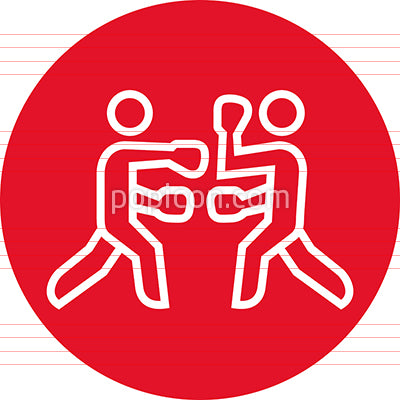 Boxing Match Fight Outline Icon