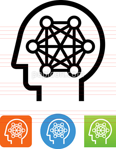 Brain With Mesh Neural Network Icon