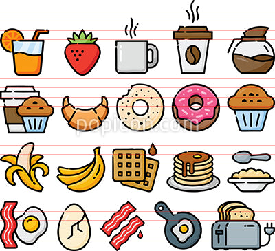 Breakfast Foods Hand Drawn Icon Set