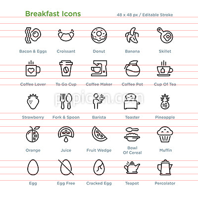 Breakfast Icons - Outline