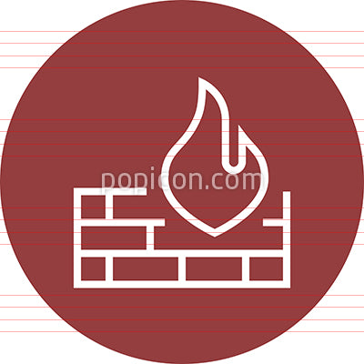 Brick Firewall Protection Outline Icon