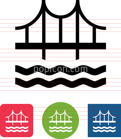 Bridge Over Water Structure Vector Icon