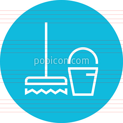 Broom Bucket Janitor Outline Icon