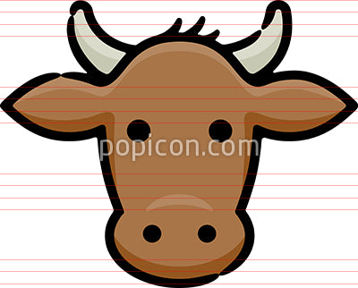 Brown Cow Hand Drawn Icon