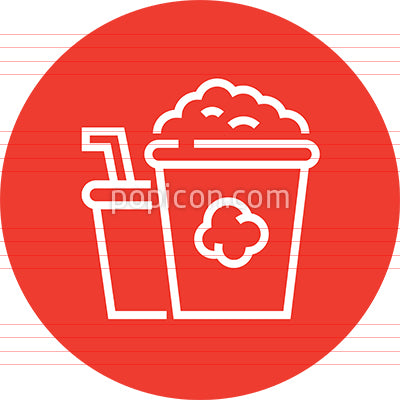Bucket Of Popcorn And Drink Outline Icon
