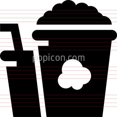 Bucket Of Popcorn And Drink Vector Icon
