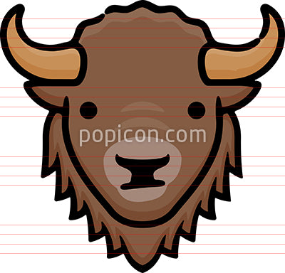Buffalo Head Hand Drawn Icon