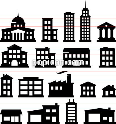 Buildings Icons - Black Series