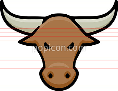 Bull Head Hand Drawn Icon