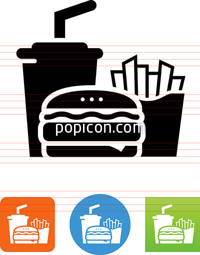 Burger Fries And Drink Icon