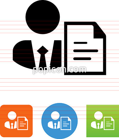 Business Person With Document Icon