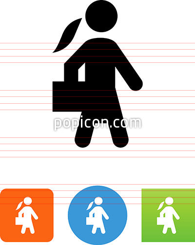 Business Woman With Briefcase Icon