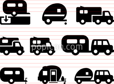 Camper Trailer Icons