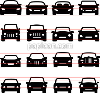 Car Icons Front Views Popicon