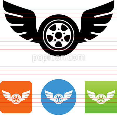 Car Wheel And Tire With Wings Icon