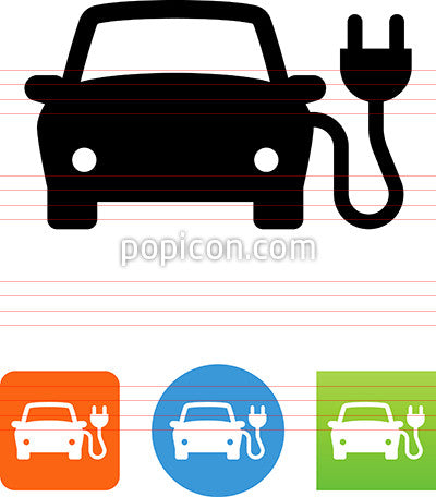 Car With Electric Plug Icon
