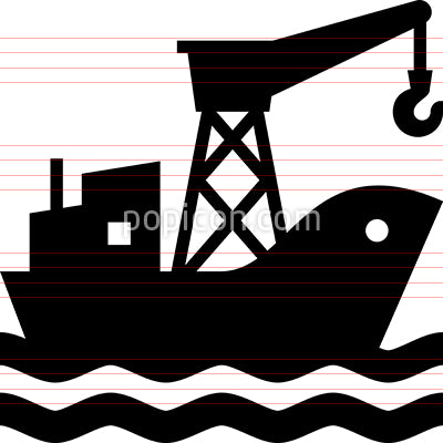 Cargo Ship Supply Chain Vector Icon