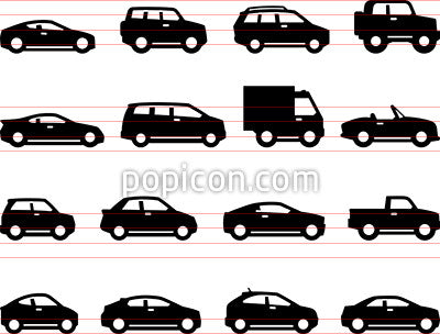 Cars And Trucks Icons - Side Views