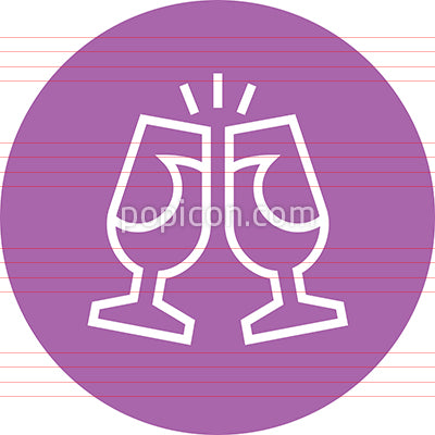 Champagne Glasses Toast Appreciation Outline Icon