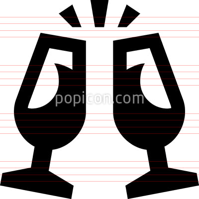 Champagne Glasses Toast Vector Icon