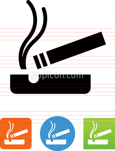 Cigarette In Ash Tray Icon