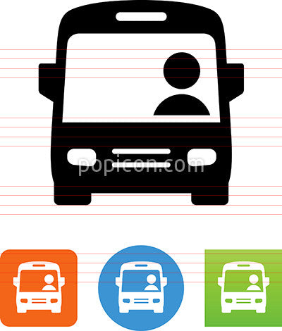City Bus With Driver Icon