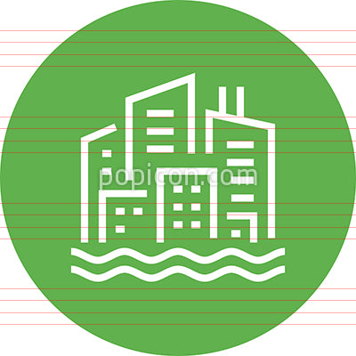 City Skyline Waterfront Outline Icon