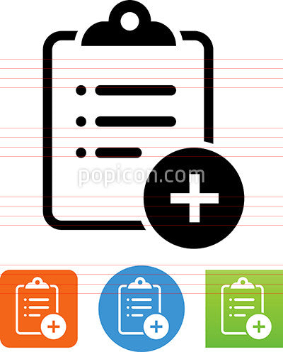 Clipboard With List And Plus Sign Icon