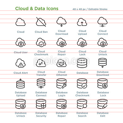 Cloud And Data Icons - Outline