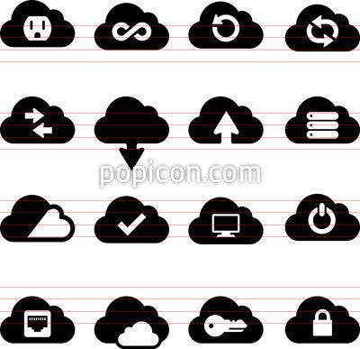 Cloud Computing Icons - Black Series