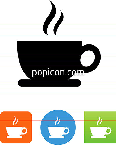 Coffee Cup With Plate And Aroma Icon