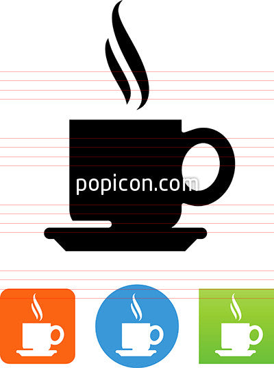 Coffee Cup With Plate And Steam Icon