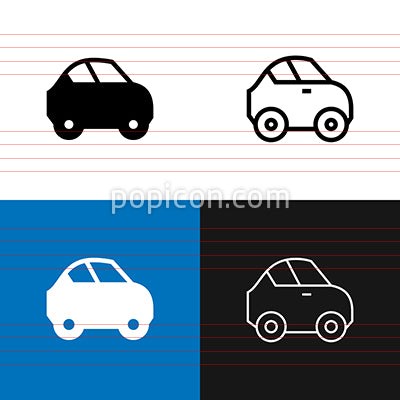 Compact Car Icon Set